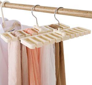 Gürtelhalter, 10 Schlitze, für Krawatte, Gürtel, Schal und Halstuch aus stabilem Kunststoff für Kleiderschrank, platzsparend, Gürtelbügel mit Metallhaken - weiß