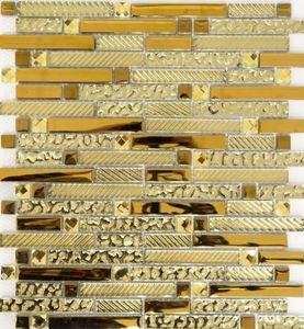 Mosaikfliese Transluzent Verbund Glasmosaik Crystal EP gold Glas MOS86-0107