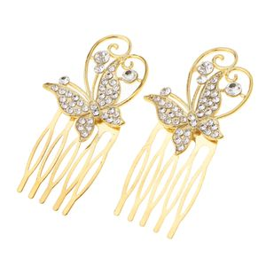 1 Paar Haarspange Kamm Farbe Schmetterling - golden