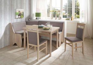 Truhen-Eckbankgruppe Eiche Sonoma Nachbildung; Eckbank, 2 Stühle und Vierfußtisch, Bezug: grau-braun, variabel aufbaubar