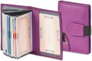 Rinaldo® XXL-Kreditkartenetui mit 24 Kartenfächern aus weichem, naturbelassenem Rindsleder in Lila