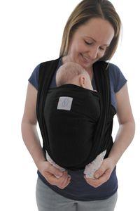 Babytragetuch mit Vordertasche inkl. Baby Wrap Carrier Tasche und Anleitung - langes elastisches Tragetuch für Früh- und Neugeborene Kleinkinder, schwarz