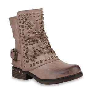 Mytrendshoe Damen Biker Boots Warm Gefütterte Stiefel Nieten Stiefeletten 820097, Farbe: Khaki, Größe: 37