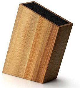 Continenta Großer Universal Messerblock schräg flexibler Einsatz für alle Messerarten, Eiche 28,5 x 8 x 19 cm, unbestückt