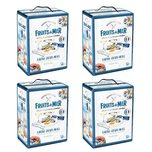 Bag-in-Box - 2018 AOP Entre-deux-Mers - FRUITS DE MER Weißwein 5 L, Box mit:4 Boxen