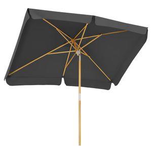 SONGMICS Sonnenschirm für den Balkon, 300 x 200 cm, Sonnenschutz bis UPF 50+, Schirmmast, Schirmrippen aus Holz, knickbar, ohne Ständer, grau GPU300G01