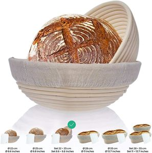 2er Set Gärkörbchen, 2 Gärkörbe Der ideale Gärkorb für Brot und Brotteig - Peddigrohr (rund, 22 und 25 cm) mit Leineneinsatz, rostfrei geklammert