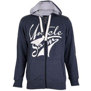 UNCLE SAM Herren Sweatjacke Hoodie Trainingsjacke Übergangsjacke mit Kapuze, Größe:M, Farbe:Navy Melange