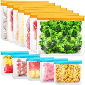 Lebensmittelbeutel Gefrierbeutel, 12 Stk. 2 Größe Wiederverwendbar Aufbewahrungsbeutel mit Reißverschluss, Küche Beutel ideal für Picknick, Reisen, nach Hause