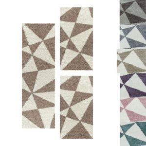 Shaggy Teppich Set Design Bettumrandung Läufer Muster Abstrakte Dreiecke 3 Teile, Farbe:Beige, Bettset:2 mal 80x150 + 1 mal 80x250