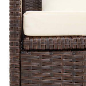 dereoir Outdoor-Lounge-Bett mit Polster & Kissen Poly Rattan Braun