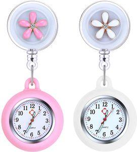 Krankenschwester Armbanduhr Einziehbare, 2 Pcs Schwesternuhr mit Glow Pointer und Clip, FOB-Uhr Quarzwerk, Silikonband, Ansteckuhr Fob für Krankenschwestern und Ärzte (Weiß + Rosa)