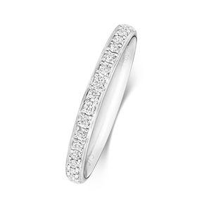 Platin 950 2,2mm Halb Eternity Damen - Diamant Trauring/Ehering/Hochzeitsring Brillant-Schliff 0.18 Karat G - SI1, 53 (16.9); WJS2031PT950