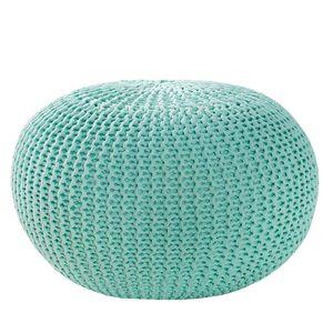 Design Strick Pouf LEEDS mint 50cm Hocker Baumwolle in Handarbeit Sitzkissen Sitzhocker Sitzpouf