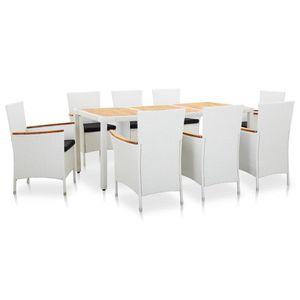 9-teiliges Outdoor-Essgarnitur Garten-Essgruppe Sitzgruppe Tisch + stuhl Poly Rattan Weiß