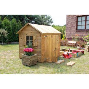Kinderspielhaus Spielhaus Holz Gartenhaus Spielhütte aus Holz für Kinder - (3669)