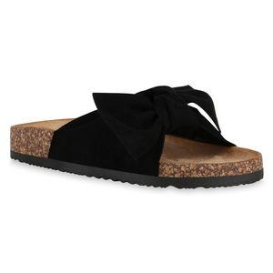Mytrendshoe Damen Sandalen Pantoletten Hausschuhe Schleifen Schuhe 830663, Farbe: Schwarz, Größe: 40
