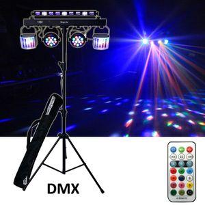 E-Lektron STAGE-BAR 5-fach LED DMX Lichteffekt Set RGBW & UV inkl. Stativ und Trage-Taschen   EL153548