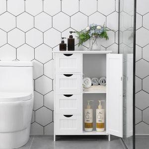 VASAGLE Badezimmerschrank, schmaler Badschrank, 81 x 55 x 30 cm, mit 4 Schubladen, Schranktür, verstellbare Regalebene, weiß LHC41W
