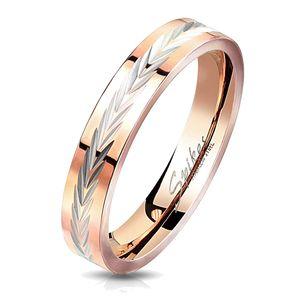 viva-adorno Gr. 57 (18,1 mm Ø) Edelstahl Ring Damen Ring Verlobungsring Rosegold Poliert mit Diamantschliff,RS56dia,