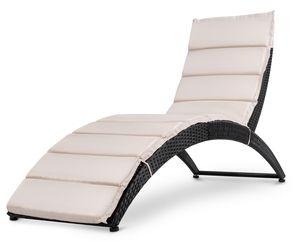 di volio Sonnenliege aus Polyrattan mit Auflage CIAMPINO – komfortable Gartenliege im edlen Design - klappbare Relaxliege