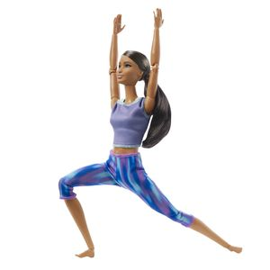 Barbie Made to Move Puppe (Afro-Style) im lila Yoga Outfit
