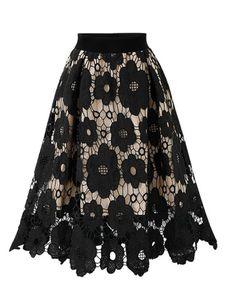 Damen elastische Taille Spitze Hohlrock lose Blume A-Linie langen Rock,Farbe: Schwarz,Größe:M