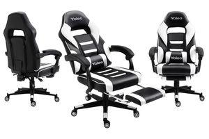 YOLEO Gaming Stuhl hohe Rückenlehne Bürostuhl Schreibtischstuhl Racing Stil Gamer Stuhl Drehstuhl Ergonomischer Büro Sessel mit Fußstützen Kopfstütze Kunstleder (Weiß-Schwarz)