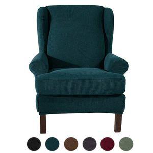 Stretch Ohrensesselbezug, Jacquard Sofabezüge Ohrensessel Stretch Couch Schonbezug Polyester Elasthan Möbelschutz (Grün)