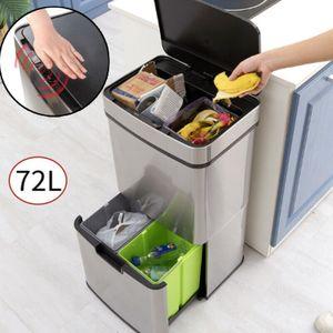 Mülleimer Automatik Sensor 72L Abfalleimer Recycling Müllbehälter Kücheneimer Küche Papierkorb