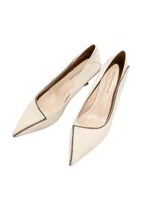 Damen Pumps Thin Heel Pointed Toe Strass Ballkleid Schuhe,Farbe: Aprikose,Größe:35