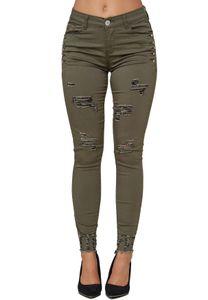 Damen Denim Stretch Jeans High Waist Skinny Fit Big Size Destroyed Risse Hose Übergröße Strass, Farben:Khaki, Größe:44