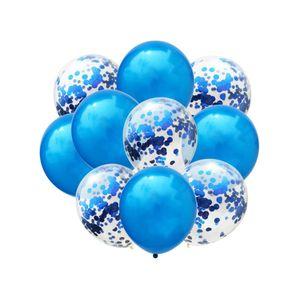 Oblique Unique Konfetti Luftballon Set 10 Stk. Geburtstag Hochzeit Baby Shower blau
