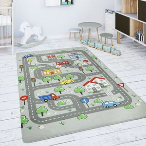 Kinderteppich Teppich Kinderzimmer Spielmatte Spielteppich Straßenteppich Grau, Grösse:155x230 cm