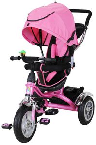 Kinderdreirad Kinderwagen Schieber Trike 7 in 1 Kinderbuggy Kinder Dreirad (Pink)