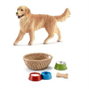 Schleich - 16395 Golden Retriever Hündin + 42293 Futter für Hunde & Katzen