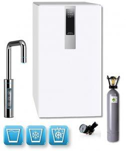 Einbau-Tafelwasseranlage BLACK & WHITE DIAMOND (Option CO2 Eigentumsflasche: 2kg CO2 Flasche / Armatur: U-Auslauf / Farbe: weiß)