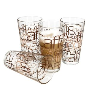 4er Latte Macchiato Gläser-Set 370 ml stapelbar Kaffee-Glas Cappuccino