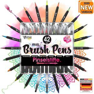 Woohoo4u Dual Brush Pen Set Pinselstifte und Fineliner, 42er Set, Wasservermalbare Bunt-Stifte Für Kinder Und Erwachsene Als Aquarellstifte, Handlettering Brush Pens, Bullet Journal Zubehör, Calligraphie Stifte