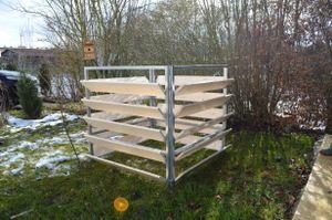 Elmato 14858 Komposter Holz/Metall, Steckmodell Fichte 100x100x100cm