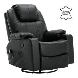 MCombo Leder Massagesessel Fernsehsessel Relaxsessel Dreh Schaukel Heizung USB manuell verstellbar Echtleder 7050BK