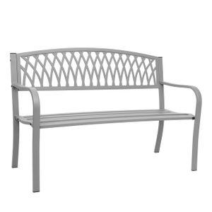 Gartenbank HWC-F45, Bank Parkbank Sitzbank, 2-Sitzer pulverbeschichteter Stahl  grau