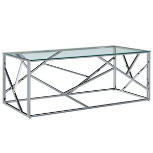 vidaXL Couchtisch Transparent 120×60×40 cm Gehärtetes Glas Edelstahl