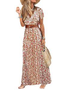 Damen V-Ausschnitt Schnürgürtel abnehmen Kleid Strand Urlaub Rock,Farbe: rot,Größe:L