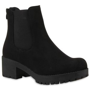 Mytrendshoe Damen Chelsea Boots Blockabsatz Plateau Stiefeletten 79970, Farbe: Schwarz, Größe: 40