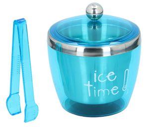 Eiskübel mit Deckel und Zange Edelstahl Eiswürfelbehälter Eiseimer Eiskühler Ice Bucket, Volumen ca. 750 ml, Farbe Blau