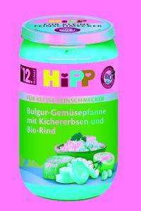 HiPP Menüs ab 1 Jahr, Bulgur-Gemüsepfanne mit Kichererbsen undRind, DE-ÖKO-037 - 250g