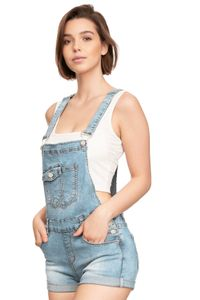 Damen Denim Jeans Latz Shorts Kurze Sommer Latzhose Skinny Stretch Hot Pants mit Träger, Farben:Blau, Größe:36