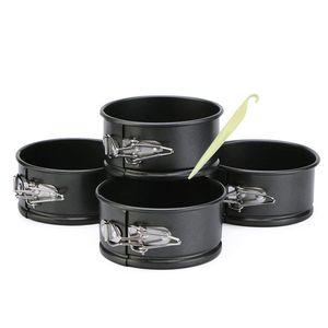 CANDeal 4er Set Springform Ø 10 cm, Backform mit Antihaftbeschichtung, runde Kuchenform mit Flachboden, mit 1 Plastikschaber