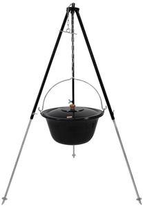Grillplanet® Gulaschkessel 15 Liter Dreibein 130 cm Deckel emailliert
